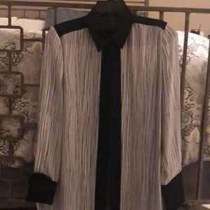 Vince black and white silk blouse